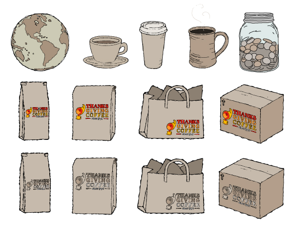 Custom illustrations for Thanksgiving Coffee Co's website