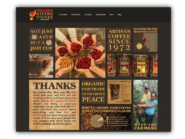 Thanksgiving Coffee Company's website